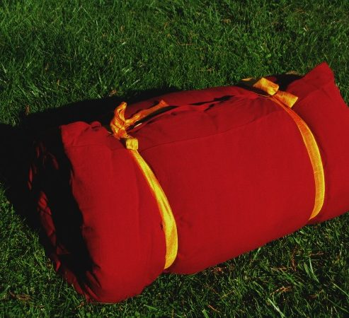 travel bed with Red Cover