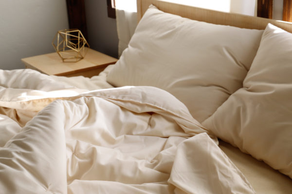 Wool Comforter on Wool Bed with Wool Pillows